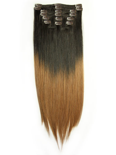 I&K Dip Dye Clip-in Straight Hair (Darkest Brown/Auburn)