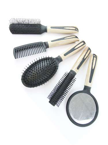 5 Pieces Brush Set - Wooden Pattern