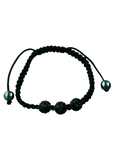 Crystal Bead Bracelet - 3 Black Beads