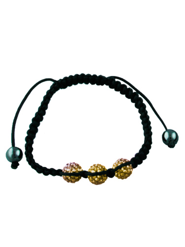 Crystal Bead Bracelet - 3 Gold Beads