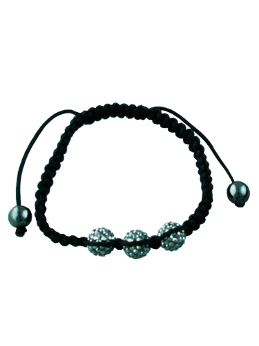 Crystal Bead Bracelet - 3 Grey Beads