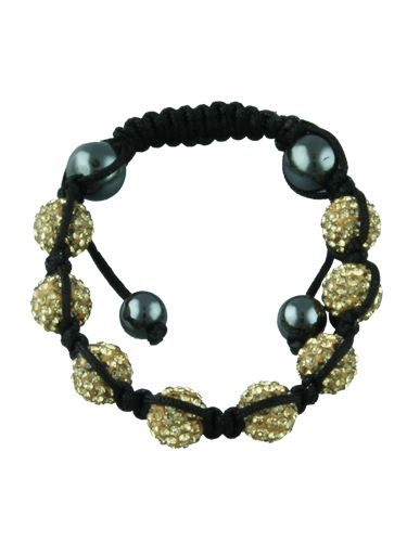 Crystal Bead Bracelet - 8 Gold Beads