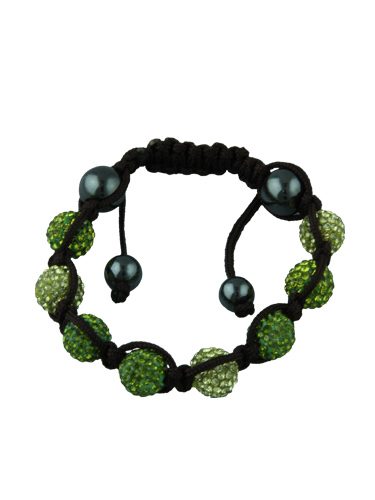 Crystal Bead Bracelet - 8 Green and Light Green Beads