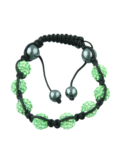 Crystal Bead Bracelet - 8 Light Green Beads