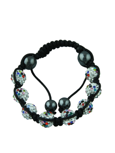 Crystal Bead Bracelet - 8 Multicoloured Spotted Beads