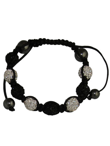 Crystal Bead Bracelet - 8 Silver and Black Beads