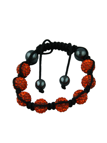 Crystal Bead Bracelet - 8 Orange Beads