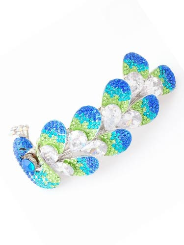 Hair Barrettes -  Blue Peacock with Blue Zircon