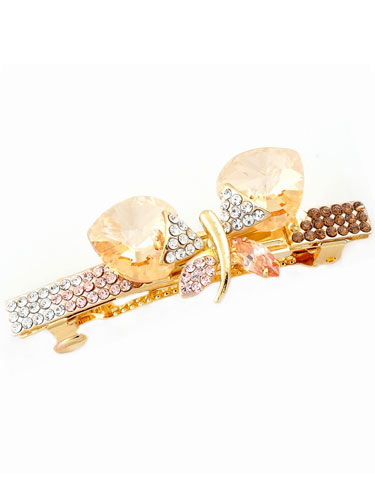 Hair Barrettes -  Crystal  Butterfly(Champagne)