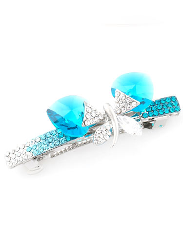 Hair Barrettes -  Crystal Butterfly(Blue)