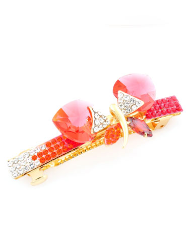 Hair Barrettes -  Crystal  Butterfly(Red)