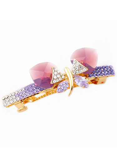Hair Barrettes -  Crystal Butterfly (Purple)