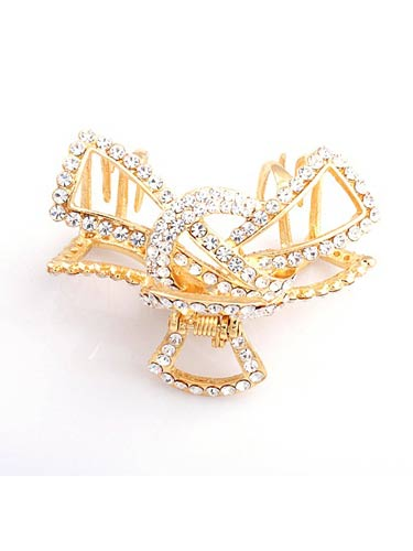 Hair Claw Clips - Large Ribbon (Silver and Gold)