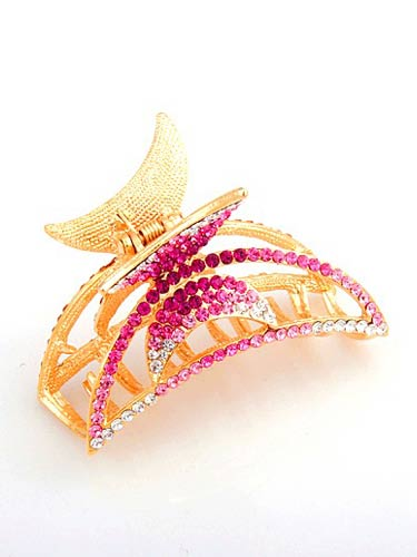 Hair Claw Clips - Gold / Pink
