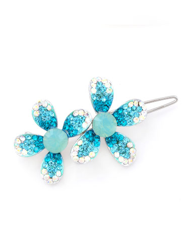 Hair Clips - Turquoise Flowers