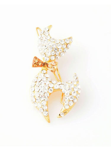 Hair Clips- Cat (Gold Bow)