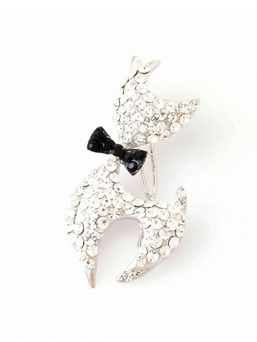 Hair Clips - Cat (Black Bow)