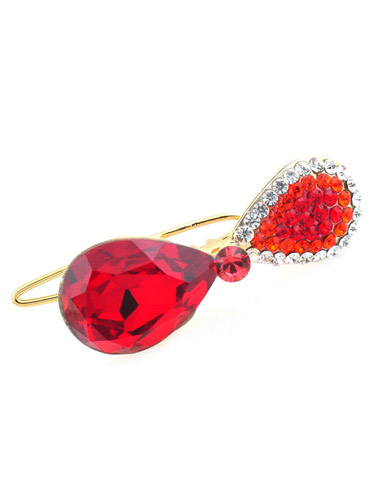 Hair Clips - Red Crystal