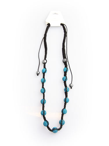 Crystal Bead Necklace - Blue