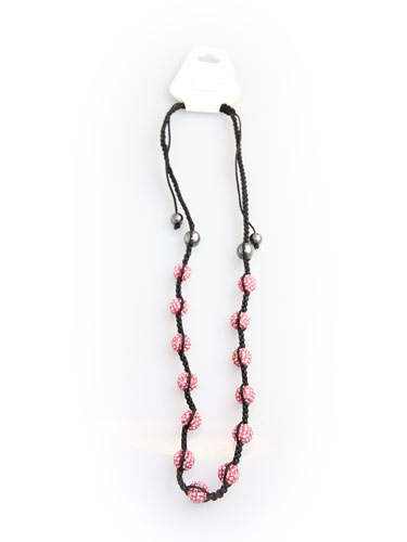 Crystal Bead Necklace - Pink