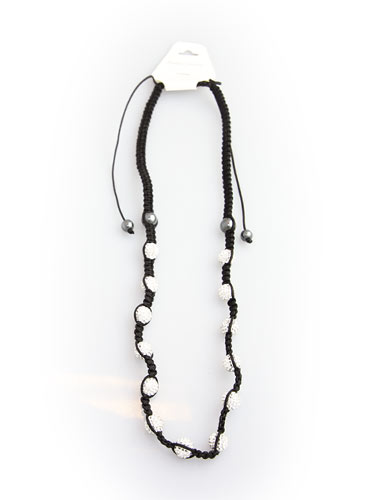 Crystal Bead Necklace - Silver