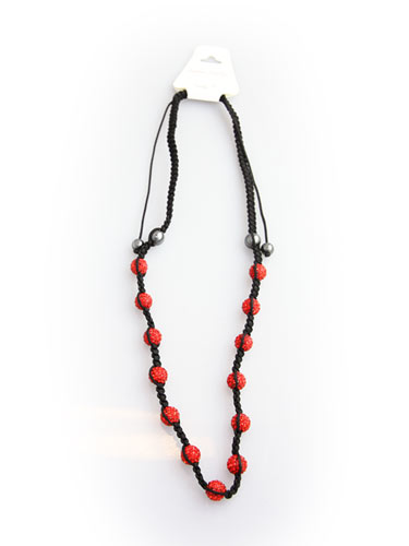 Crystal Bead Necklace - Red