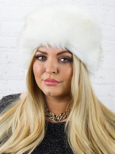 Luxury Faux Fur Hat  White Coffee