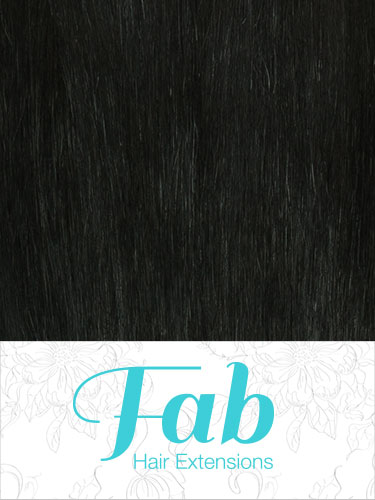 Fab Clip In Remy Hair Extensions - Full Head #1-Jet Black 15 inch