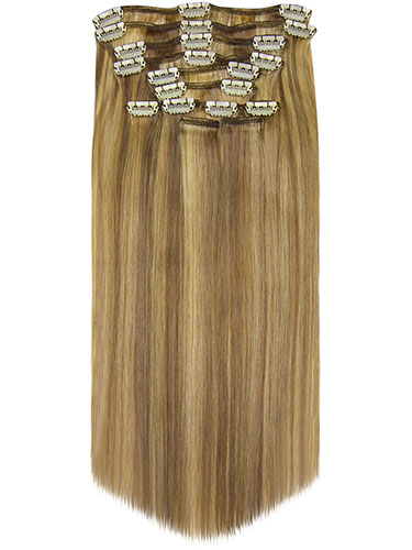 Fab Clip In Remy Hair Extensions - Full Head #18/613-Ash Blonde with Lightest Blonde 15 inch