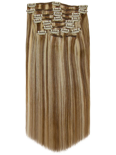 Fab Clip In Remy Hair Extensions - Full Head #6/613-Medium Brown with Lightest Blonde Highlights 18 inch
