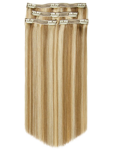 Fab Clip In Lace Weft Remy Hair Extensions - Full Head #10/16-Medium Ash Brown with Medium Blonde 20 inch 140g/Twinpack