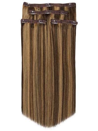 Fab Clip In Lace Weft Remy Hair Extensions - Full Head #4/27-Chocolate Brown with Strawberry Blonde 20 inch 70g