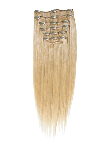 I&K Clip In Human Hair Extensions - Full Head #22-Medium Blonde 18 inch