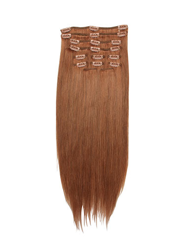 I&K Clip In Human Hair Extensions - Full Head #30-Auburn 18 inch