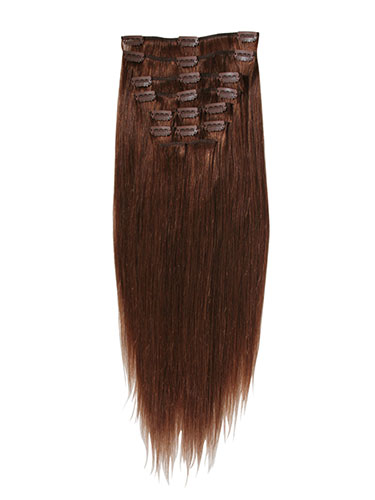 I&K Clip In Human Hair Extensions - Full Head #6-Medium Brown 18 inch