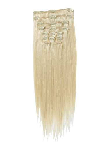 I&K Clip In Human Hair Extensions - Full Head #613-Lightest Blonde 18 inch