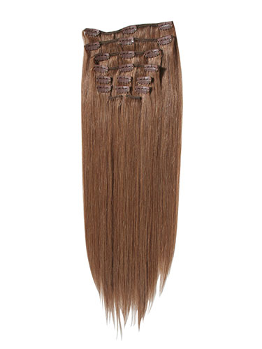 I&K Clip In Human Hair Extensions - Full Head #8-Light Brown 14 inch