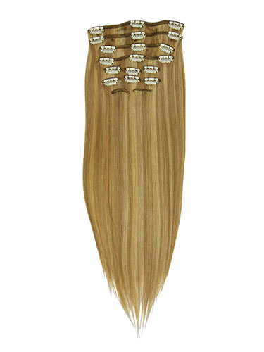 I&K Clip In Human Hair Extensions - Full Head #12/16/613 18 inch