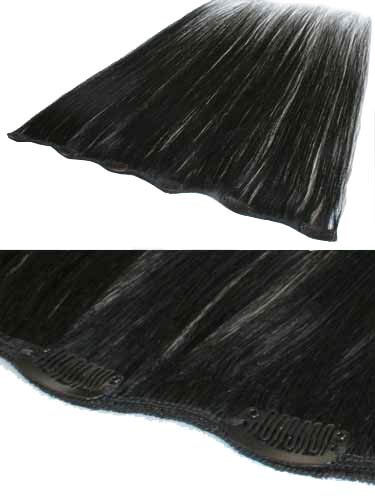 I&K Clip In Human Hair Extensions - Quick Length Piece #1-Jet Black 18 inch