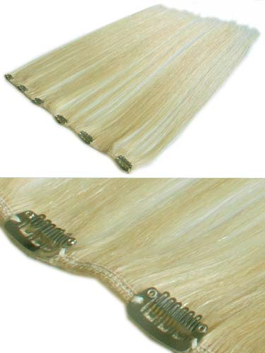 I&K Clip In Human Hair Extensions - Quick Length Piece #60-Platinum Blonde 18 inch