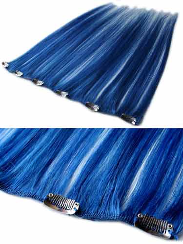 I&K Clip In Human Hair Extensions - Quick Length Piece #Blue 18 inch