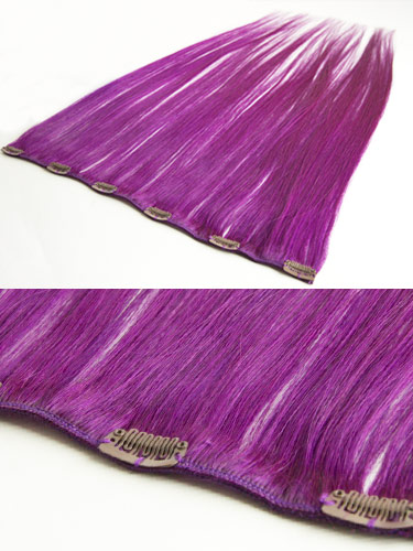 I&K Clip In Human Hair Extensions - Quick Length Piece #Purple 18 inch
