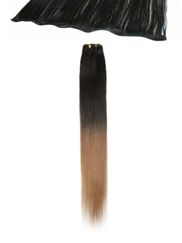 I&K Clip In Human Hair Extensions - Quick Length Piece #T2/27 18 inch