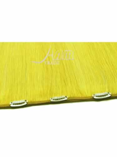 I&K Clip In Human Hair Extensions - Quick Length Piece #Yellow 18 inch