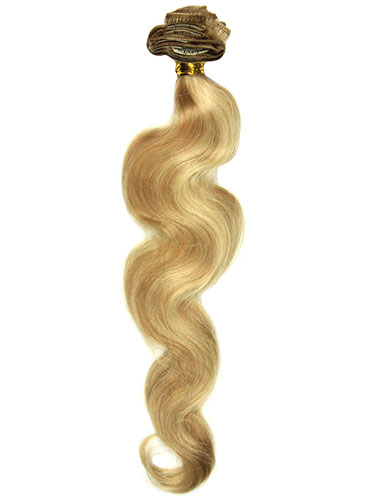 I&K Clip In Human Hair Extensions - Body Wave - Full Head #12/16/613 22 inch