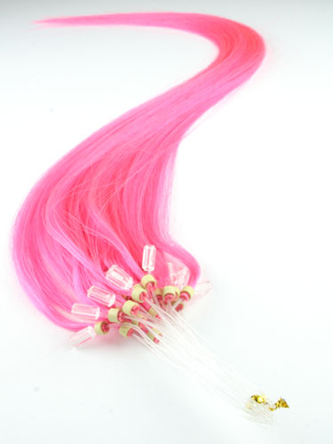 I&K Micro Loop Ring Human Hair Extensions #Pink 18 inch