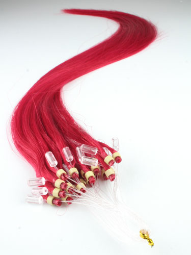 I&K Micro Loop Ring Human Hair Extensions #Red 22 inch
