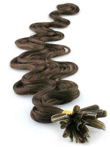 I&K Pre Bonded Nail Tip Human Hair Extensions - Body Wave #3-Dark Brown 18 inch