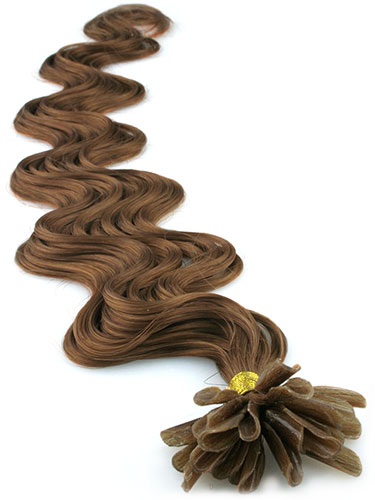 I&K Pre Bonded Nail Tip Human Hair Extensions - Body Wave #6-Medium Brown 18 inch