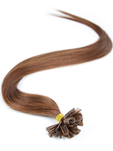 I&K Pre Bonded Nail Tip Human Hair Extensions #4R-Reddish Chocolate Brown 18 inch